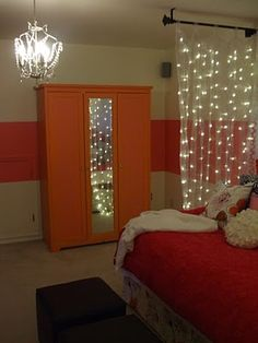 The lights are sewn into the curtain panels and hang from celing to floor.