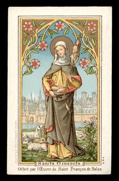 Belgian holy card of St. Genevieve