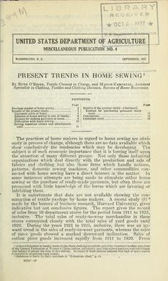"""""""Present Trends in Home Sewing"""" by: Ruth O'Brien (1927) 