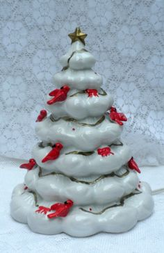 vintage ceramic Christmas tree with light 8 inches by brixiana, $26.00