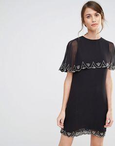 Fede Warehouse Scallop Embellished Dress - Black Warehouse Kjoler til Damer i dejlige materialer