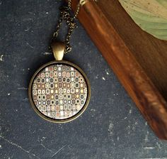 Natural colors necklace  Round pendant  Geometric  by SolarBird, $18.50