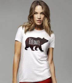 Let's Hibernate | Funny Boho Sleep T-Shirt with Watercolor Bear Graphic. Pictured: White Womens Tee Shirt