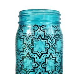 Mason Jar Lantern, Hand Painted Geometric Design on Blue Glass with Black Detailing