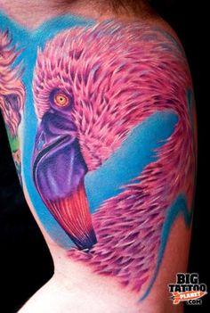 Flamingo Tattoo by Cecil Porter Robot Tattoo, Alien Tattoo, Armor Tattoo, Angel Tattoo Designs, Best Tattoo Designs, Polish Eagle Tattoo, Celtic Tattoo Meaning, Fijian Tattoo, Windmill Tattoo