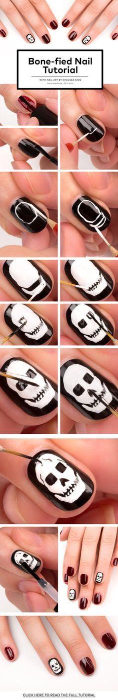 Skull Design Nail Tutorial - www.adizzydaisy.com