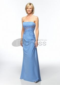Mother of The Bride Dresses-chiffon strapless rouched bodice withmother of bride dress