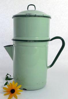 Green Enamel Coffee Pot Light Green Porcelain by MinniesFlea, $64.00