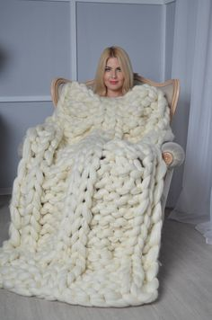 Chunky cable knit blanket, big knit blanket,Giant knit blanket, arm knit blanket, chunky blanket, wh