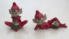 Vintage Christmas Pixies elves  Pixieware Figures by Studio517, $85.00
