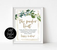 Editable greenery baby shower pacifier hunt game,rustic pacifier hunt baby shower game sign, baby shower games