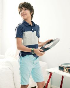J.Crew boys' stripe vintage jersey polo and Stanton short in garment dyed chino.