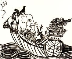 Noah's Ark—ink drawing for a tattoo design (based on a Russian folk art tapestry), 2008