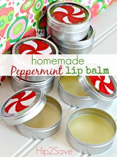 Homemade Peppermint Lip Balm. I made this and it's just like Burt's Bee's.