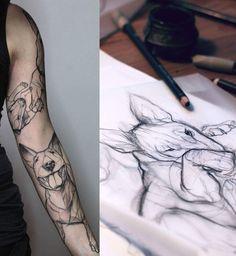dog tattoo Realistic Animals is part of Tattoo Artists That Create Stunning Animal Portraits - Yadou caffeine tattoo sleeve feminine sleeve dog tattoosfordoglovers bully bullterrier sketch tattoo Bull Tattoos, Neue Tattoos, Forearm Tattoos, Body Art Tattoos, Sleeve Tattoos, Tatoos, Bullterrier Tattoo, Engel Tattoo, Dog Skull