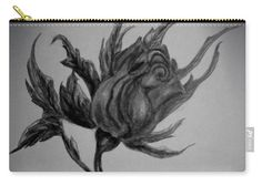 Rose Carry-all Pouch featuring the drawing Wild Rose Sketch by Faye Anastasopoulou