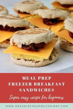 Make Ahead Breakfast Sandwiches – Organize Yourself Skinny Frozen breakfast sandwiches are super easy to make and keeps you out of the drive-thru. This will help you eat healthier and save money! Frozen Breakfast, Make Ahead Breakfast Sandwich, Vegan Breakfast Recipes, Healthy Breakfasts, Healthy Meals, Breakfast Ideas, Healthy Recipes, Bacon Breakfast, Skinny Recipes