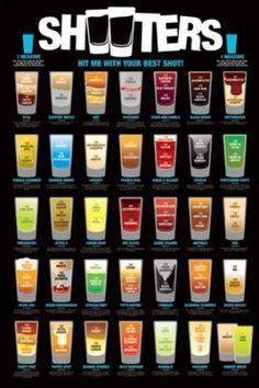 Shooters Poster-Bar Bebidas completo tamaño 24 X 36 ~ 35 Shot Recetas Voodoo Tko Cocktail Shots, Cocktails Bar, Bar Drinks, Alcoholic Drinks, Beverages, Shot Recipes, Alcohol Drink Recipes, Getting Drunk, Summer Drinks