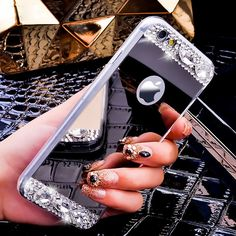 i5/i6/Plus Mirror Cover Fashion Case Ultra Thin Bling Crystal Diamond Phone Case