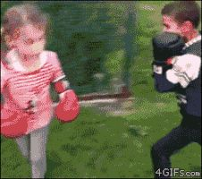 Knock him down, girl!