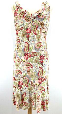 4efb77a9f85e70 CAbi Ruffle Sheath Dress #302 Paisley Floral Sleeveless Pastels Rayon Size  6 | eBay