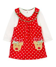 Take a look at this Nannette Red & White Polka Dot Jumper & Bodysuit - Infant, Toddler & Girls today!