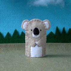 Koala Bear Finger Puppet Tan  Felt Koala Puppet  by cherylasmith, $5.00