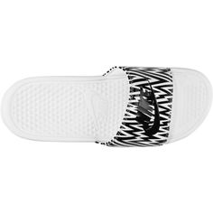 Nike Benassi Just Do It Print Women's Slide ($20) ❤ liked on Polyvore featuring shoes, nike footwear, nike, strap shoes, print shoes and lightweight shoes