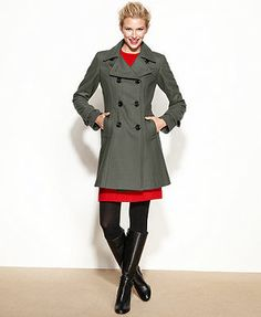 Anne Klein Coat, Double-Breasted Wool-Blend A-Line love the blue...want a better cut
