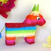 A rainbow donkey or burro piñata is a traditional element found at Cinco de Mayo celebrations, but this do-it-yourself version would also make a lively addition to a birthday party or any event. Fill it with treats and let kids or party guests try their luck at breaking it open. Fashioned out of recycled cardboard boxes and colorful tissue...