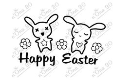 HAPPY EASTER 2 BUNNY  design file for Silhouette or por Nona30