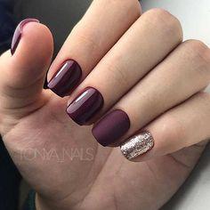 Burgundy Nail Designs, Burgundy Nails, Stylish Nails, Trendy Nails, Dipped Nails, Fall Nail Colors, Nagel Gel, Nail Shop, Winter Nails