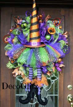 Whimsical Halloween WITCH HAT and TUTU Wreath with Cute Witch Legs