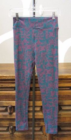 Just like a pair my daughter has and so comfy for recovery...I want em so stinkin bad lol! LULAROE One Size NEW Purple Teal Antique Phone Print Stretch Classic Leggings