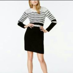 Black and White Striped Eyelash Sweater Dress NWOT Stay warm and stylish in this beautiful sweater dress. Polyester/Acrylic/ Nylon, Dry clean only, crew neckline, long sleeves, pullover style, striped eyelash knit at bodice. Hits above the knee. NWOT. FINAL PRICE UNLESS BUNDLED. Calvin Klein Dresses