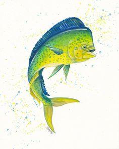 Original Watercolor painting MAHI mAHI dolphin fish 8x10 140lb archival paper #Surrealism