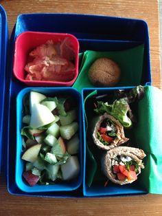 Lettuce-red pepper-cilantro-feta rolls w/hummus, apple-cucumber-plum salad w/ basil & lemon juice, & a snicker doodle :)
