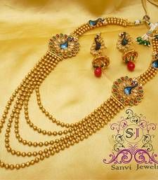 Buy Polki & zircon peacock necklace necklace-set online