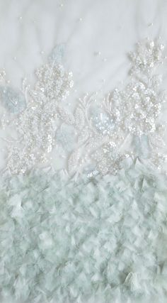 Beaded Tulle | Off white flowers embroidered atop a flouncy border of mint tulle and chiffon