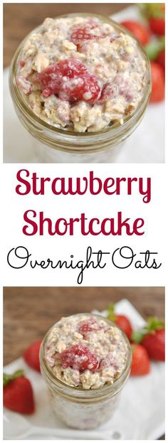 Sweet strawberries and hearty oats make for a perfect breakfast on the go! This Strawberry Shortcake Overnight Oats recipe is a simple morning meal. Quaker Oats Recipes, Oatmeal Recipes, Healthy Breakfast Recipes, Healthy Snacks, Healthy Recipes, Healthy Eating, Breakfast Smoothies, Healthy Breakfasts, Clean Eating