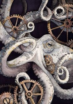 "Steampunk Octopus - Amazing watercolor painting of an octopus and gears by Chloe Yingst. The commissioned piece is entitled ""Sofia. Steampunk Kunst, Steampunk Octopus, Le Kraken, Motif Art Deco, Octopus Art, Octopus Painting, Painting Art, Art Watercolor, Octopus Tattoos"