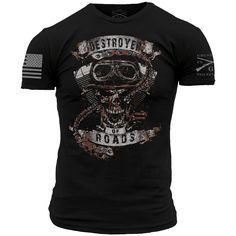 """""""You will ride eternal, shiny and chrome. - Immortan Joe"""". The Grunt Style Destroyer of Roads shirt is made of 100% ultra soft and comfortable cotton. Backed by"""