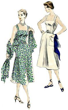 1950 Elegant Sun Dress Retro Pattern - VOGUE 7246 -  UNCUT, Factory-Folded Vintage Sewing Pattern - Bust 32