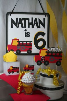 Birthday Cake Topper   Personalized Fire Truck by StampnNScrapn, $10.00