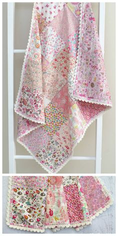 Crochet Trim Blanket, pattern by Tied with a Ribbon Fabrics are Liberty of London, Tana Lawn