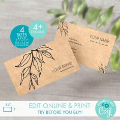 Printable Kraft Business Card Templates for Square & Classic Cards - Editable Botanical Business Card Template - Custom Floral Calling Card Packaging Stickers, Personalized Ribbon, Thank You Card Template, Label Templates, Custom Fonts, Calling Cards, Label Design, Soaps, Business Cards