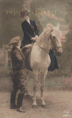 Edwardian Equestrian Couple - Vintage Postcard Digital Scan Download For Unlimited Personal Or Commercial Use on Etsy, $5.95
