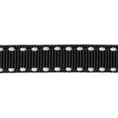 Black ribbon stitched white