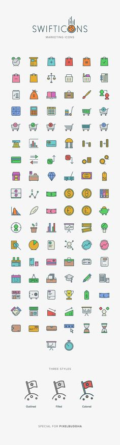 Marketing Swifticons. An essential icon set of 100+ beautifully crafted Swificons in 3 styles featuring marketing theme. Outlined, filled or colored. #webdesign