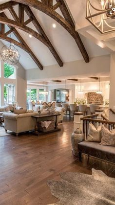 Love the beams and the open concept for livingroom and kitchen